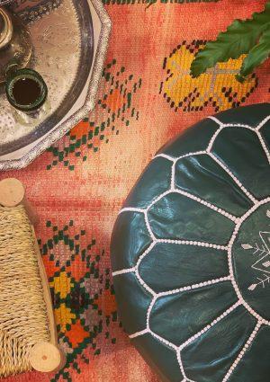 Handmade Leather Ottoman, Maghrebya