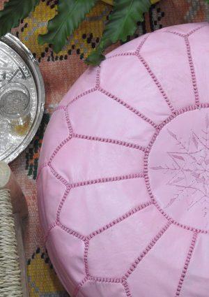 Pink handmade leather ottoman