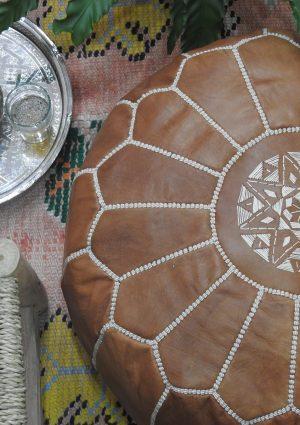 Moroccan handmade leather ottoman