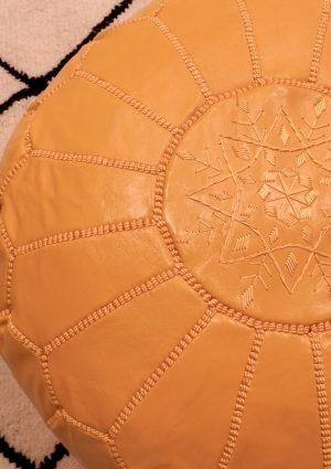 Handmade Leather Ottoman-Moutarde
